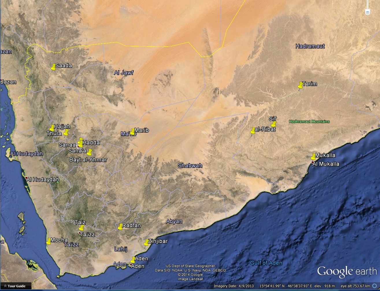"Places mentioned in ""Yemen: Dancing on the Heads of Snakes"""