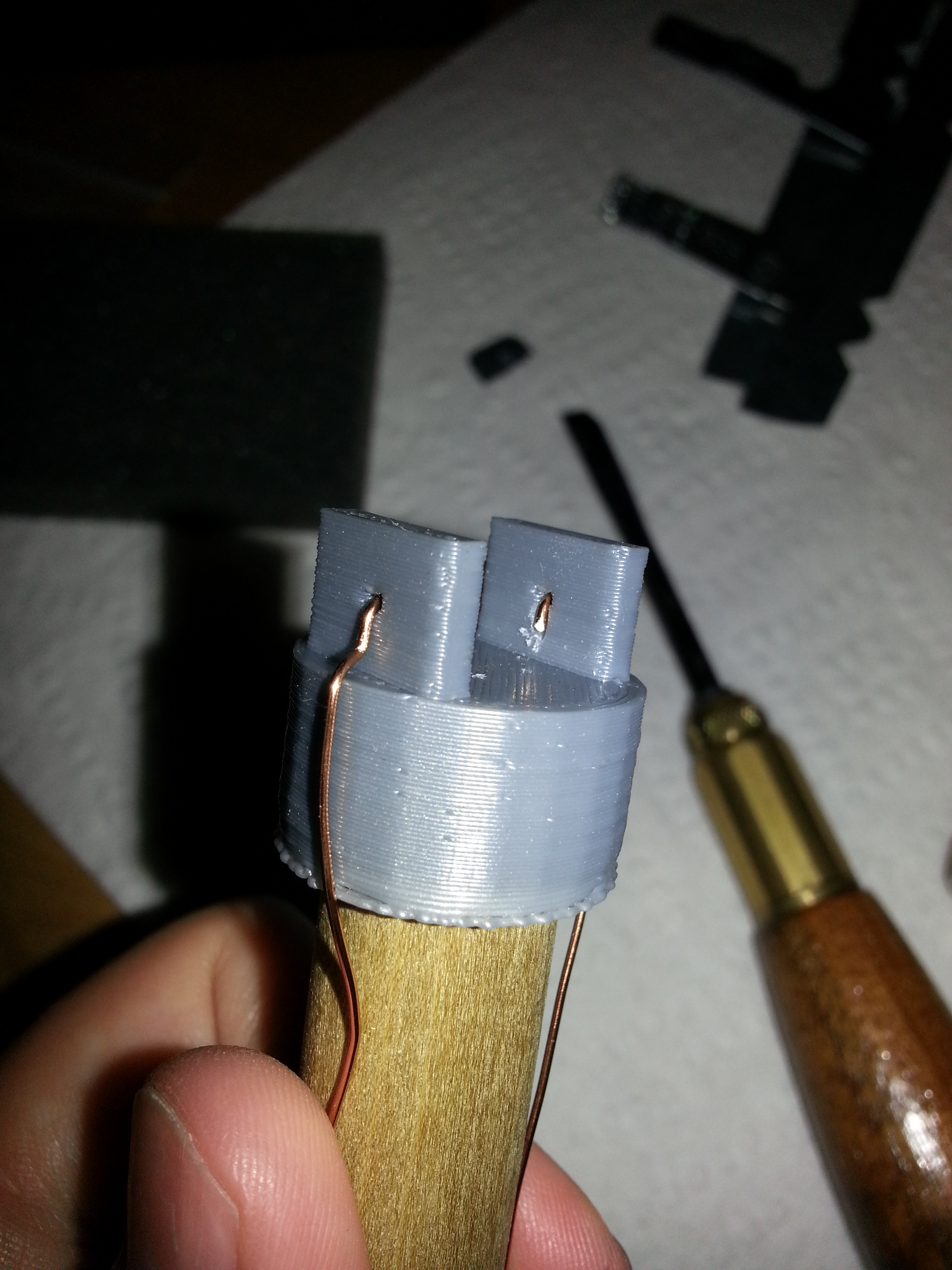 Probe tip with wire inserted
