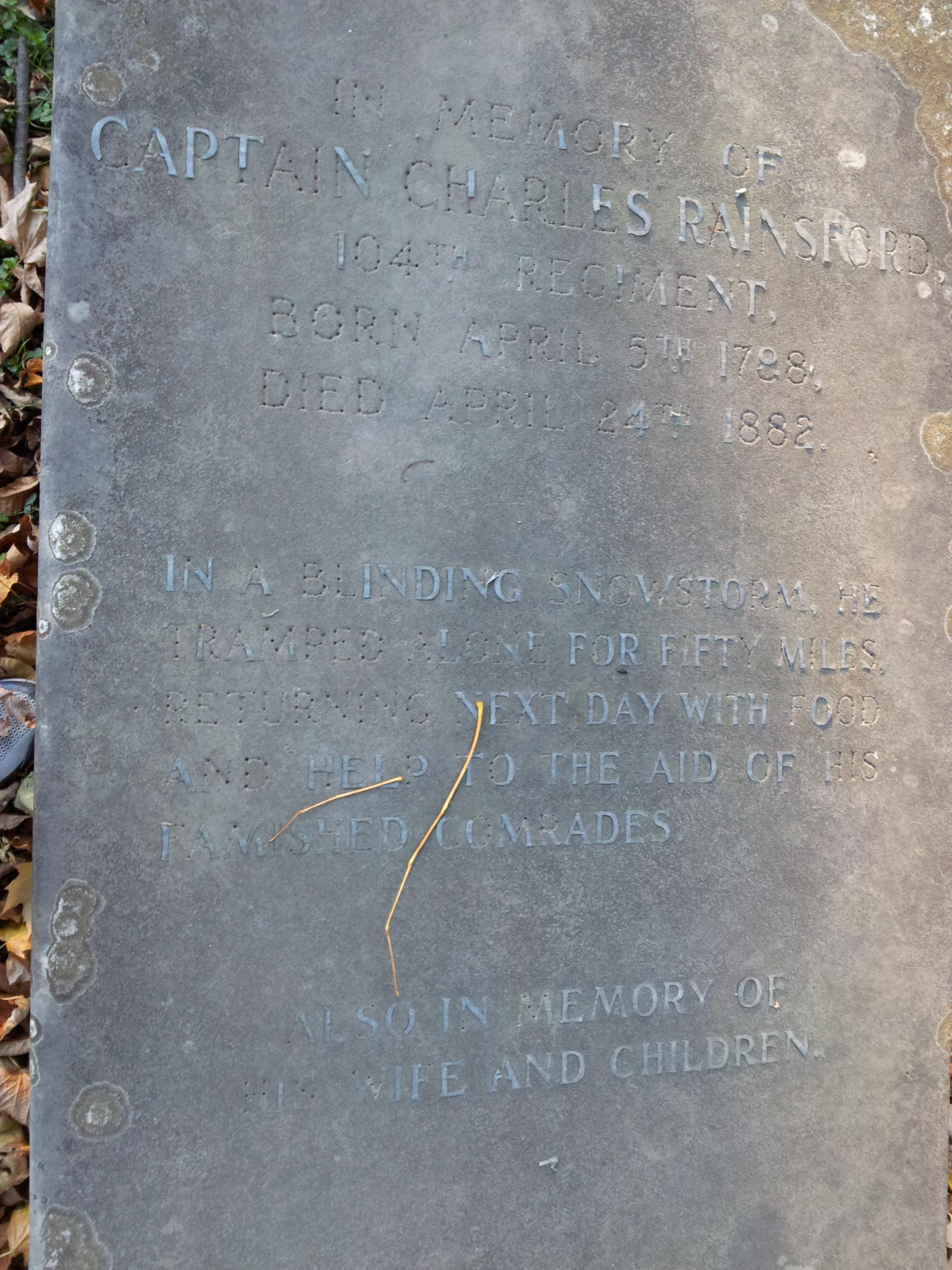 Capt. Rainsford gravestone