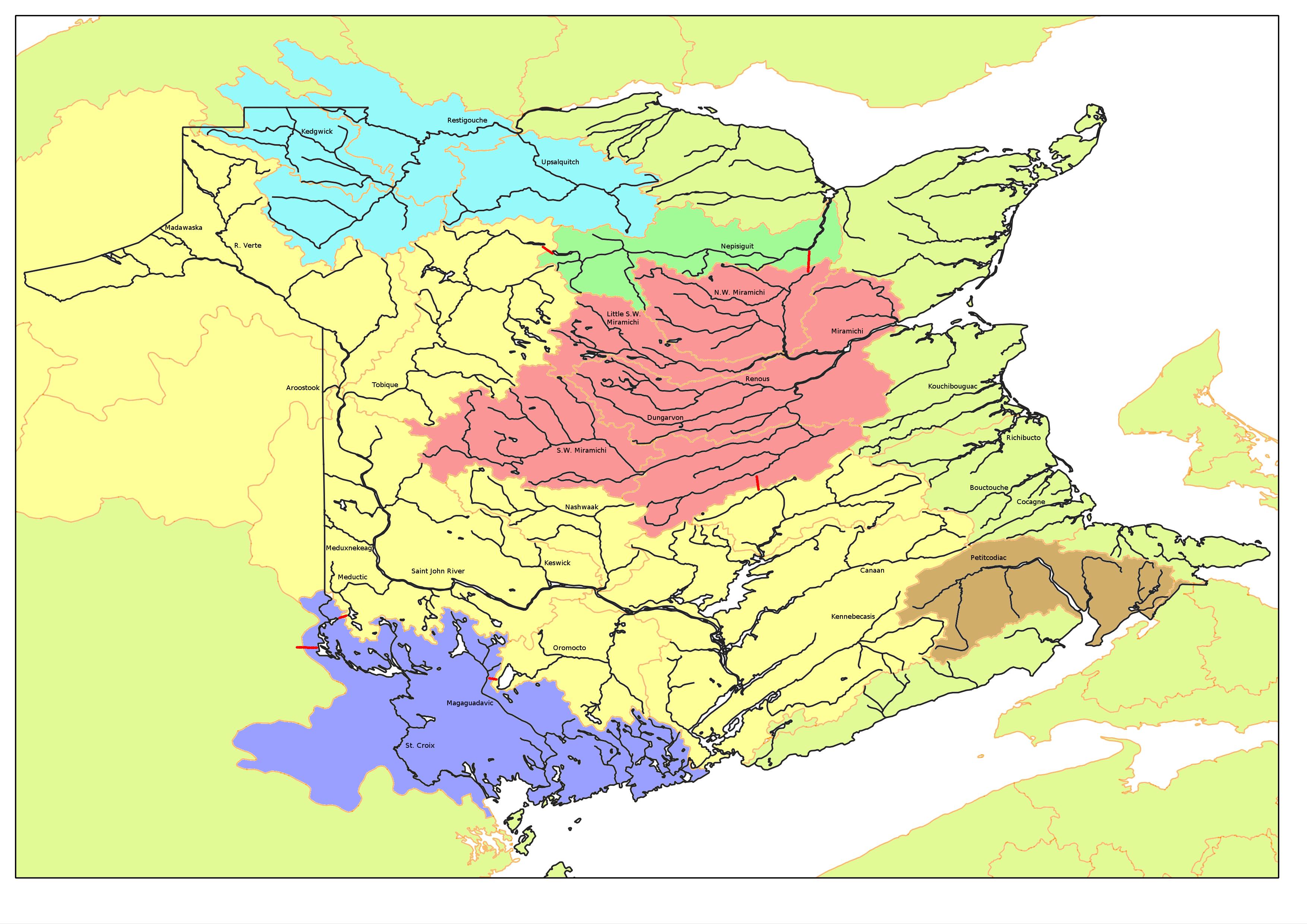 Map Of New Brunswick Watersheds - Map of new brunswick