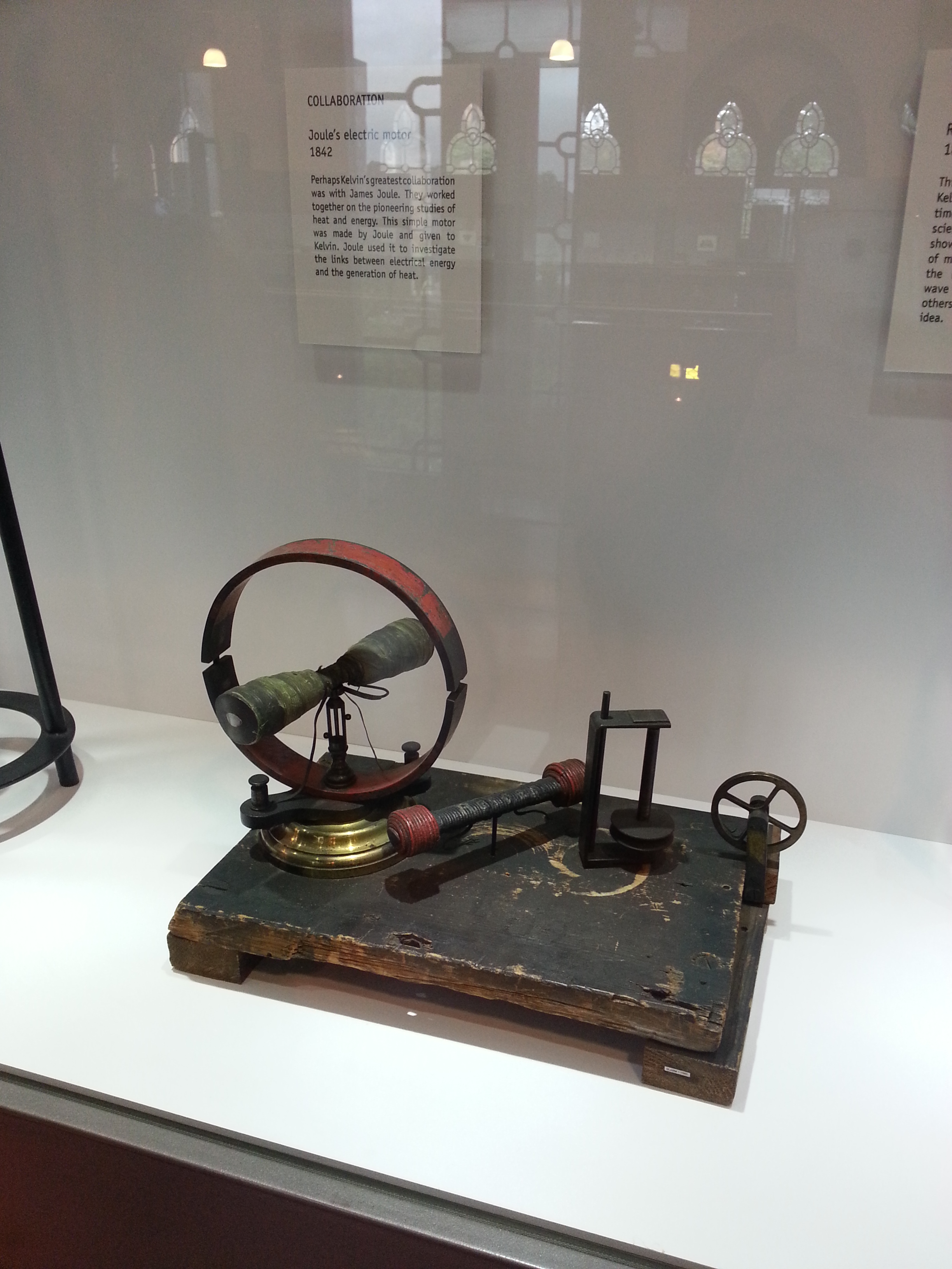 An early electric motor given to Lord Kelvin by James Joule