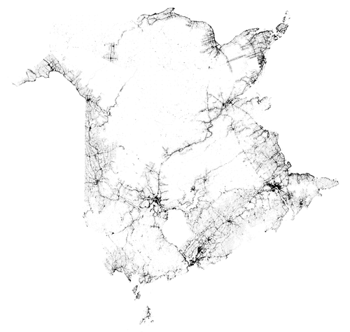 Map of buildings in New Brunswick as a proxy for population density