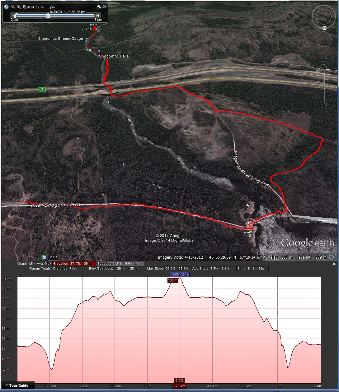 Map and elevation profile of the hike to the falls