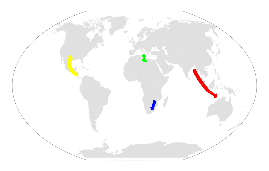 Map of migration hotspots