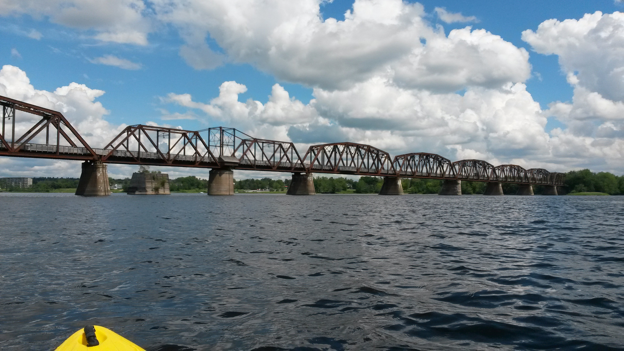 Fredericton old train bridge, seen from my kayak