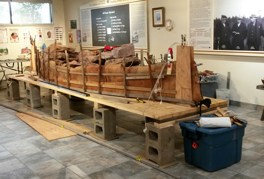Birchbark canoe under construction at the Millbrook Heritage Centre