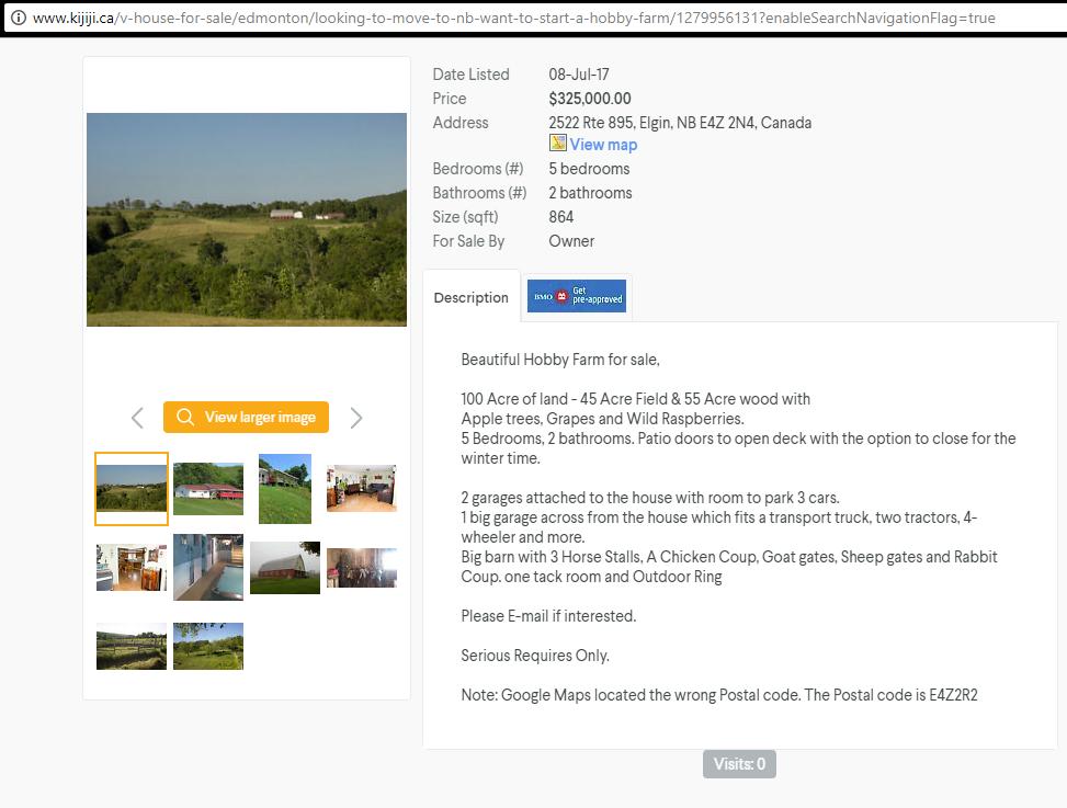 Hobby farm ad