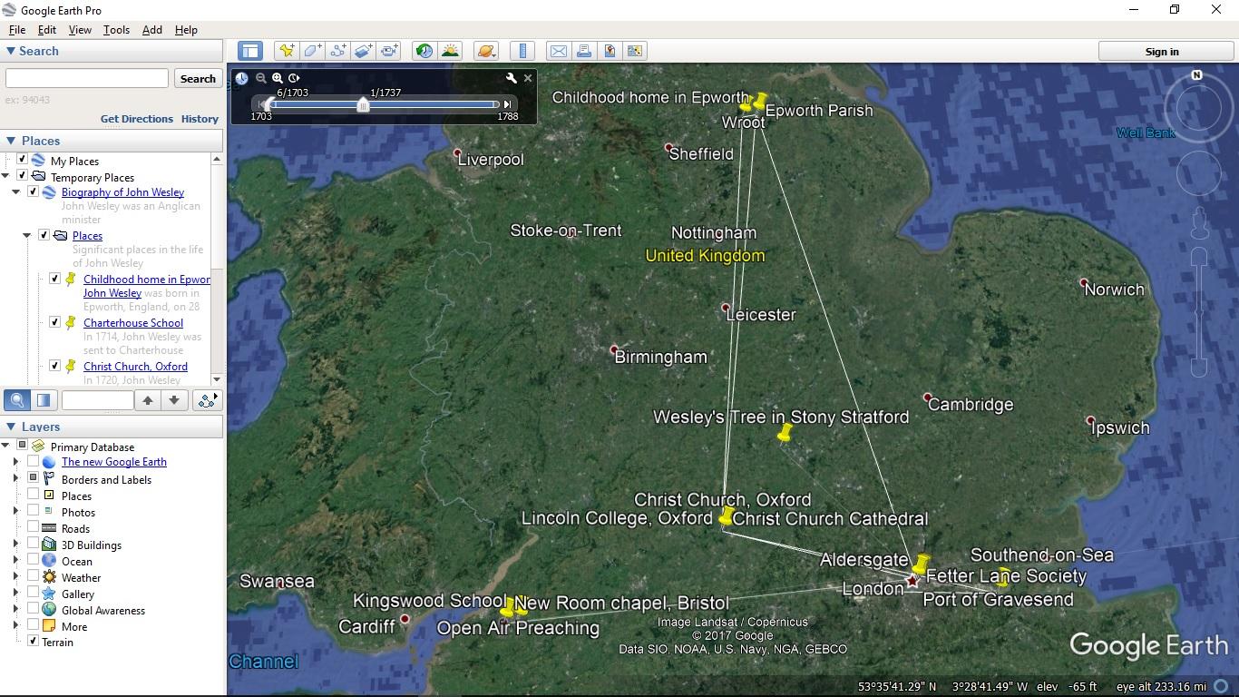 Wesley Biography in Google Earth