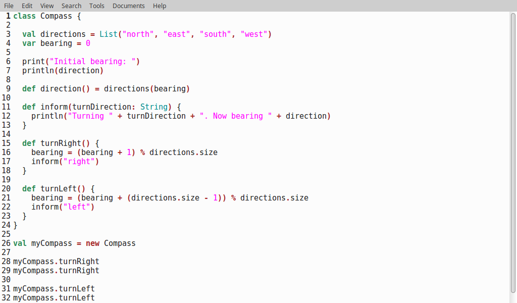 """The """"compass"""" class example, with syntax highlighting in gedit"""