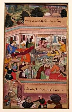 market scene in a book