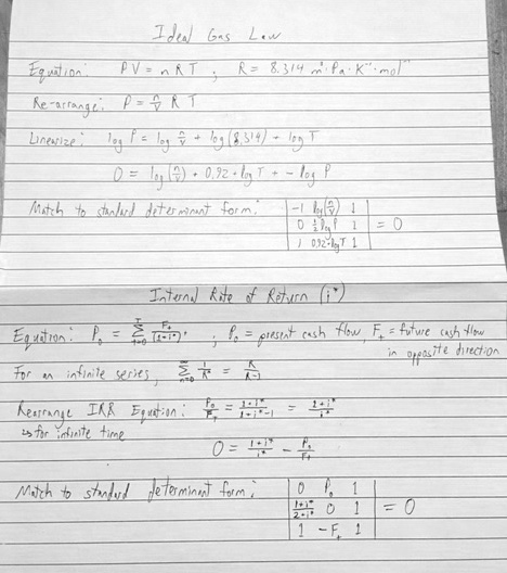 Ideal Gas law and IRR as determinants