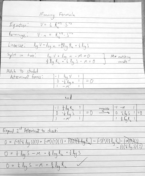 Manning formula as a determinant